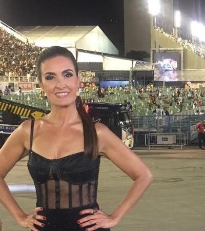 De corset, Fátima Bernardes dá lição de estilo na Sapucaí
