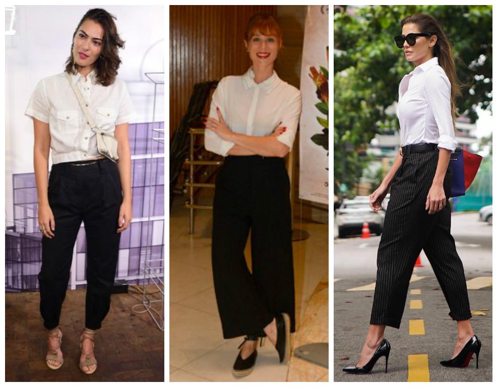 Camisa branca e calça preta: famosas adotam a dupla curinga