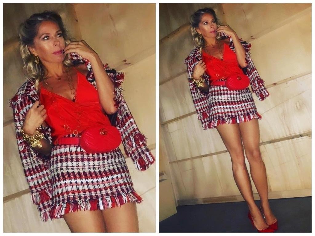 Look vermelho: Adriane Galisteu usa conjunto de R$ 6 mil