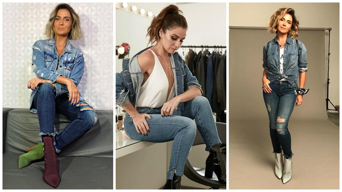 Giovanna Antonelli mostra como usar 3 looks jeans com jeans