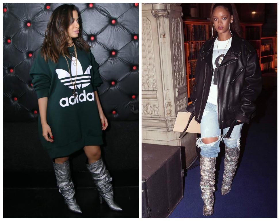 Anitta e Rihanna com bota prata (Fotos: Agnews/Reprodução/Instagram/@badgalriri)
