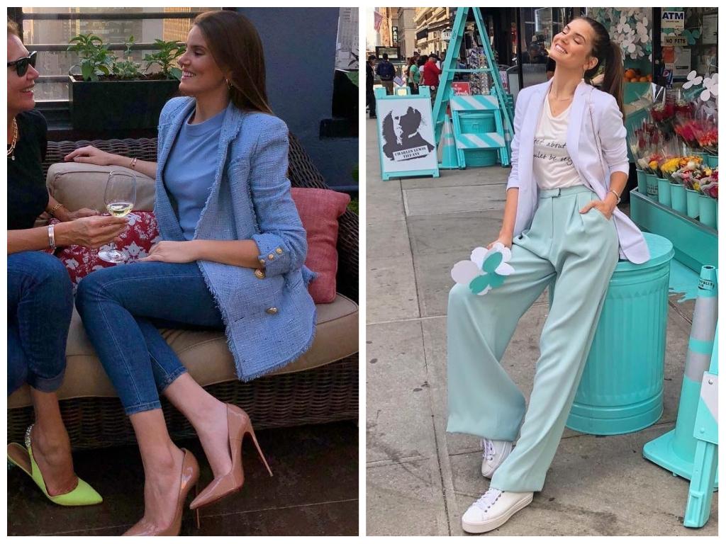 Azul: Camila Queiroz acerta com mix de formal e despojado