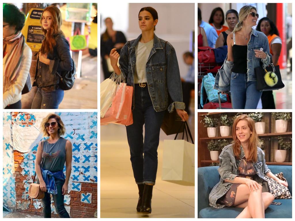 Bruna Marquezine e outras famosas com jaquetas jeans (Fotos: AgNews/Reprodução/Instagram)