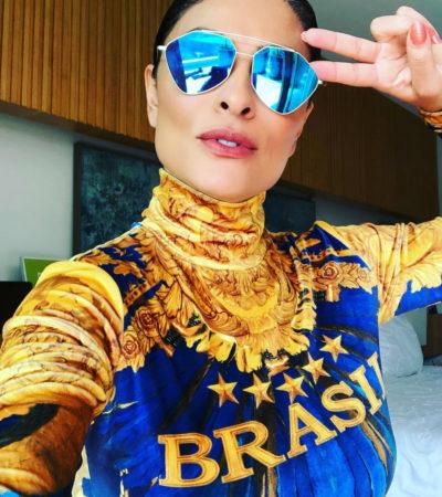 Copa: Ju Paes usa body igual de filhas de Firmino para torcer
