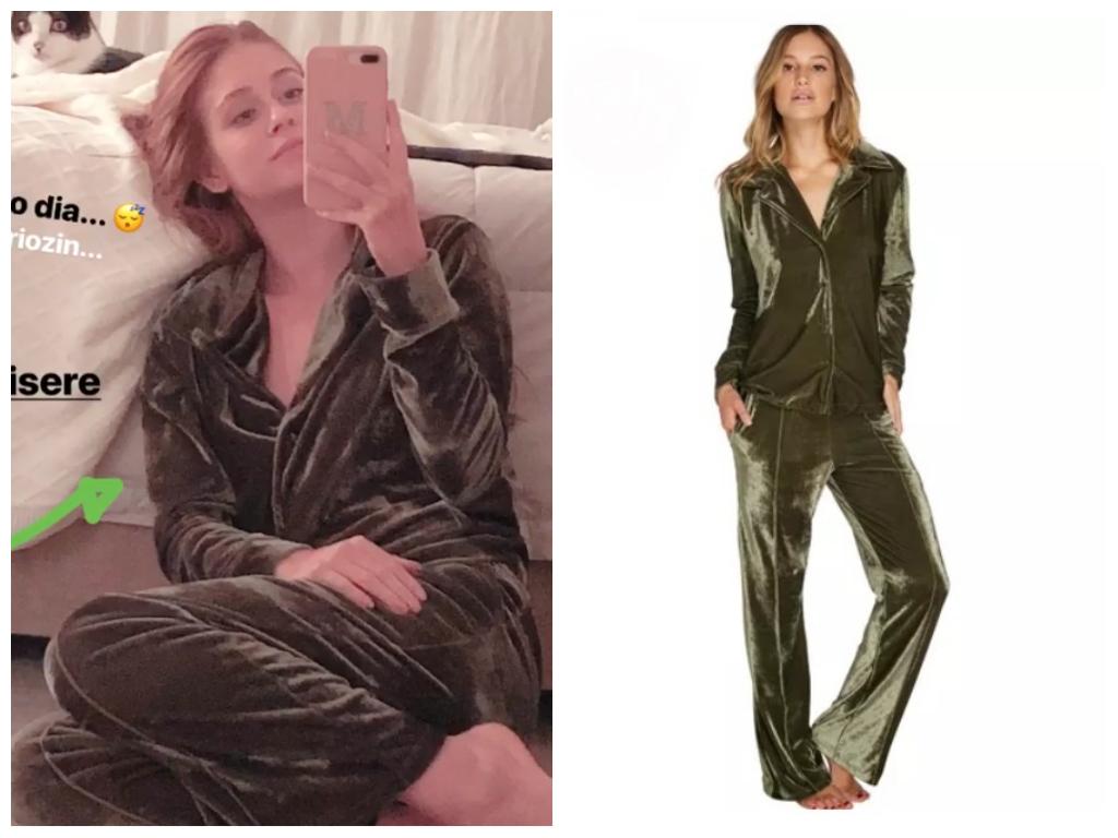Frio: Marina Ruy Barbosa veste pijama de veludo de R$ 379,90