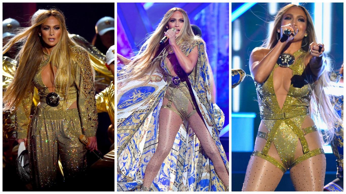 Jennifer Lopez (Fotos: Divulgação/Versace/Getty Image)