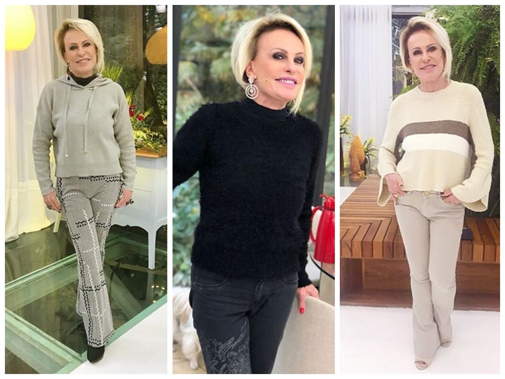 Ana Maria Braga aquece inverno com looks de tricô e moletom