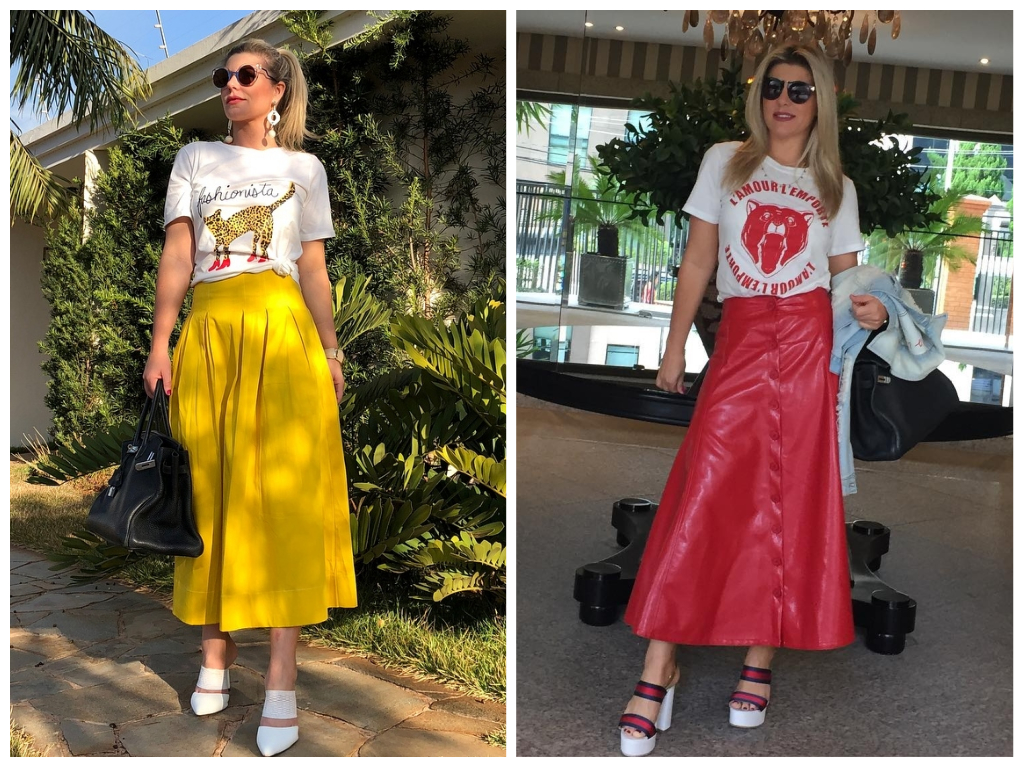 Moda: Íris Stefanelli ensina a usar camiseta com saia mídi