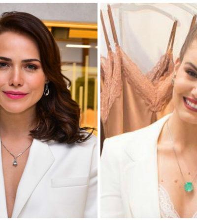Camila Queiroz e Leticia Colin usam terninho branco sem medo
