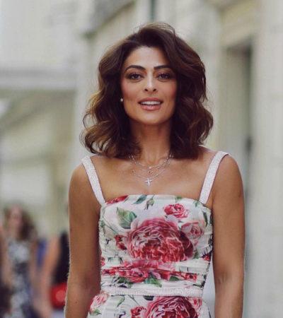 Juliana Paes usa vestido de R$ 19,5 mil para coletiva em Portugal
