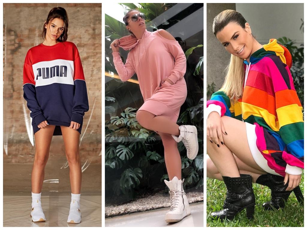 Famosas vestem blusa de moletom tipo vestido (Fotos: www.adrianegalisteu.com.br/Reprodução - @brumarquezine/@fernandakeulla/Instagram/Reprodução)