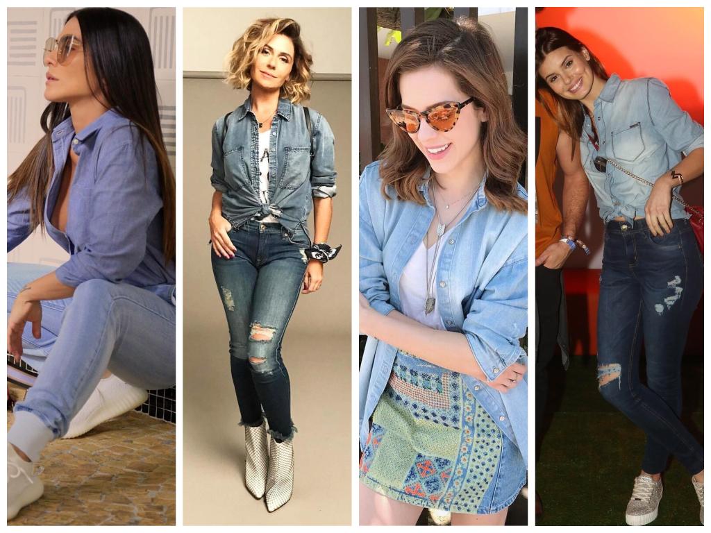 Famosas ensinam a vestir camisa jeans (Fotos: Instagram/Reprodução)