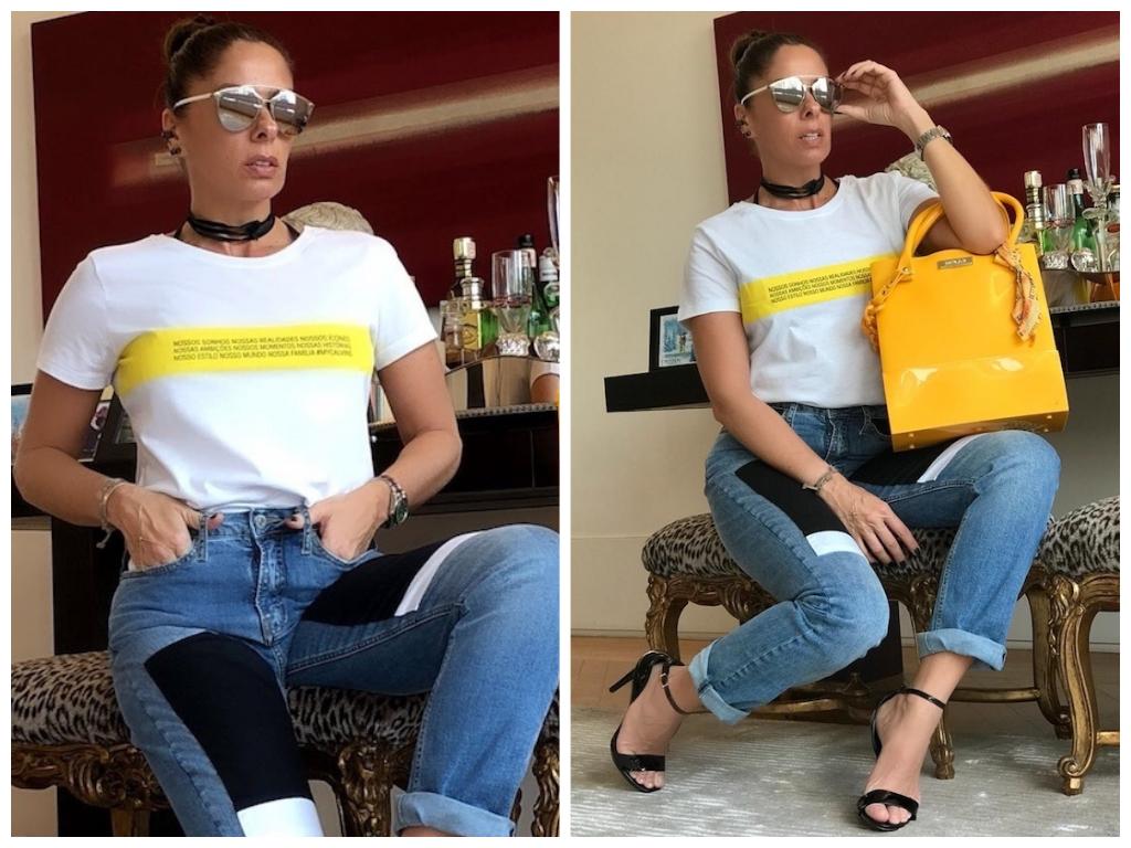 Galisteu incrementa look básico com bolsa amarela de R$ 150