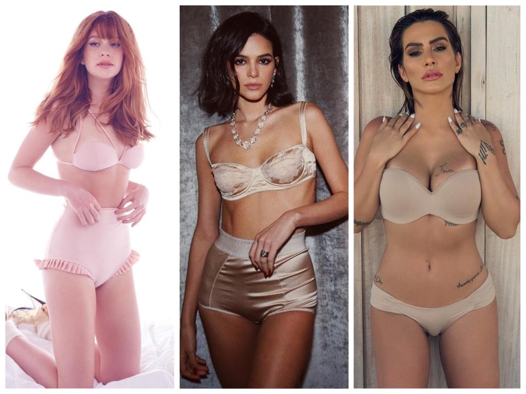Famosas apostam em lingerie bege (Fotos: @marinaruybarbosa/@brumarquezine/@cleo/Instagram/Reprodução)