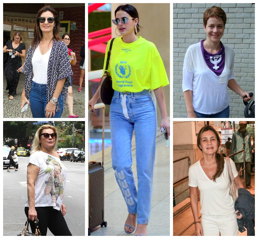 Famosas com calça, camiseta e estilo (Fotos: AgNews)