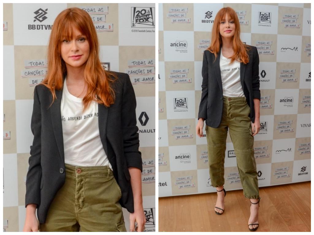 Marina Ruy Barbosa acerta ao combinar blazer com calça cargo