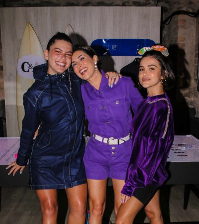 Fast fashion: Fê Paes Leme e Manu Gavassi apostam no roxinho