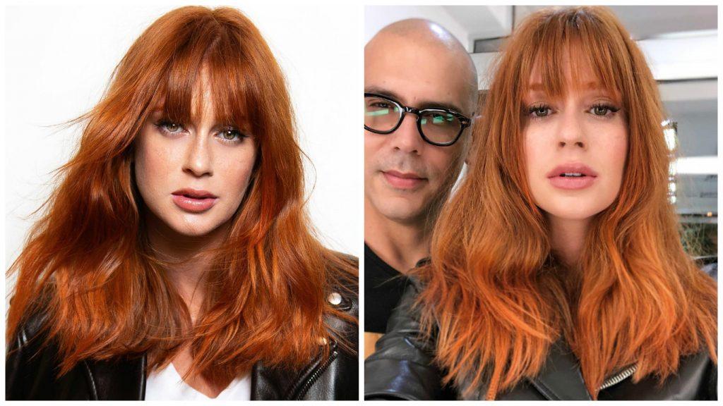 Marina Ruy Barbosa e o cabeleireiro Anderson Couto, responsável pelo novo visual (Fotos: Reprodução/Instagram)