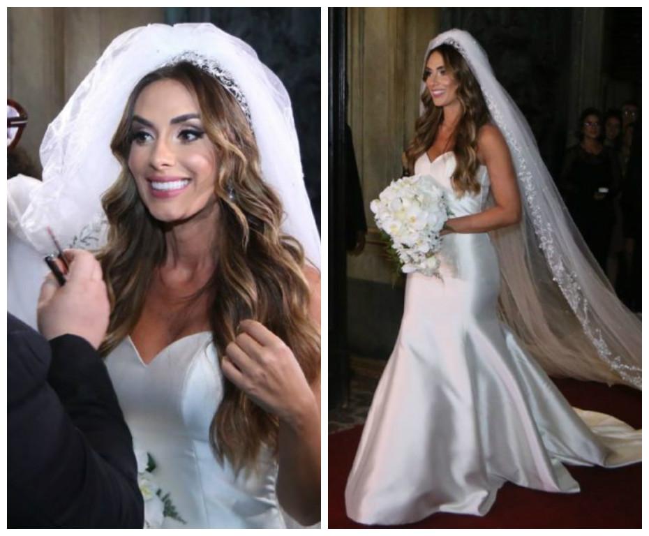 A noiva com vestido assinado por Carol Hungria (Foto: Daniel Pinheiro e Anderson Borde/AgNews)