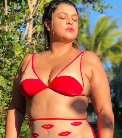 Preta Gil dá show de autoestima com biquíni transparente