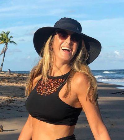 Ticiane destaca barriga de grávida com biquíni de R$ 340