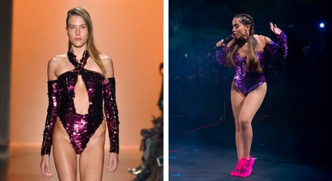 Look desfilado e body adaptado para a Anitta (Fotos: Divulgação)