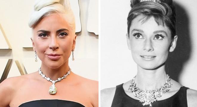 Lady Gaga e Audrey Hepburn (Fotos: Divulgação/Tiffany)