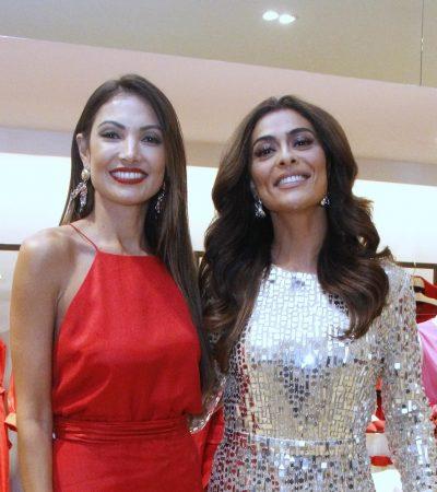 Vermelho e brilho marcam looks de Patricia Poeta e Ju Paes