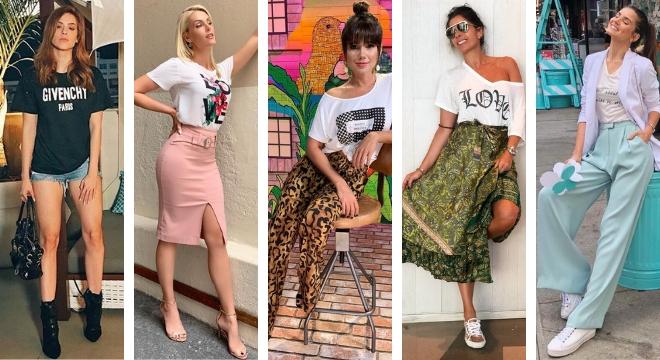 Famosas ensinam 5 maneiras estilosas de vestir camiseta