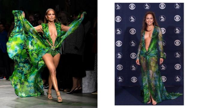 Jennifer Lopez no desfile da Versace e no Grammy de 2000 (Fotos: Reprodução/Instagram)