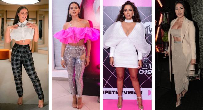 Plástico: Paolla como Vivi Gudes, Bruna, Anitta e Simaria (Fotos: AgNews/Reprodução/Instagram)