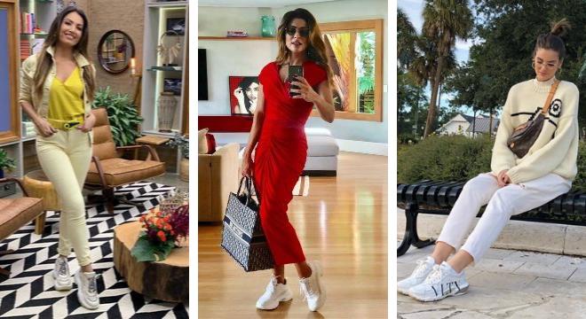 Tênis feio: Patricia Poeta, Juiana Paes e Camila Queiroz (Plástico: Paolla como Vivi Gudes, Bruna, Anitta e Simaria (Fotos: Reprodução/Instagram)