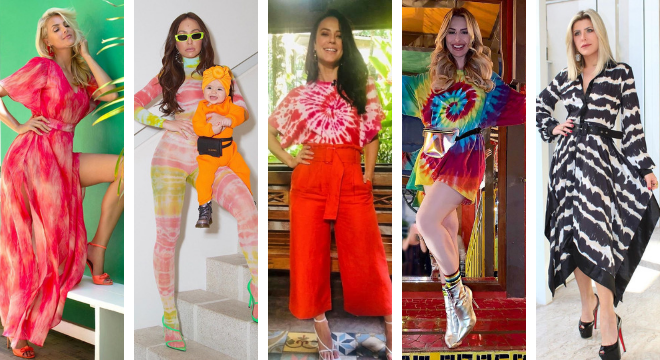 Varias opções de looks com tie dye (Fotos: Reprodução/Instagram)