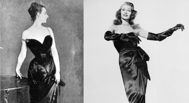 O quadro Madame X e Gilda, vivida por Rita Hayworth (Fotos: Reprodução)
