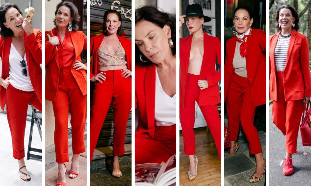 Carolina Ferraz usa mesmo terno em 7 dias (Fotos: Reprodução/Instagram/@carolinaferrazoficial)