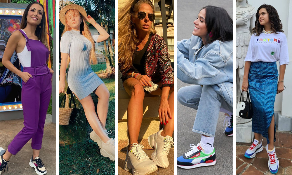 Famosas com tênis feio (Fotos: Reprodução/Instagram)