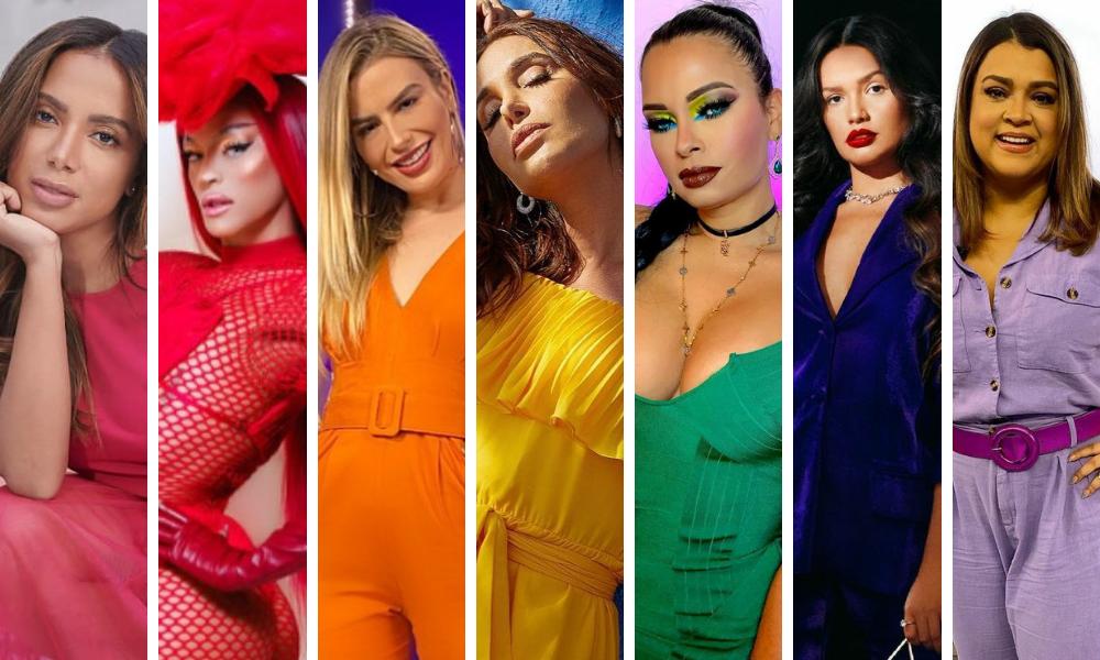 Famosas com as cores da bandeira LGBTQIA+ (Fotos: Instagram/Reprodução)