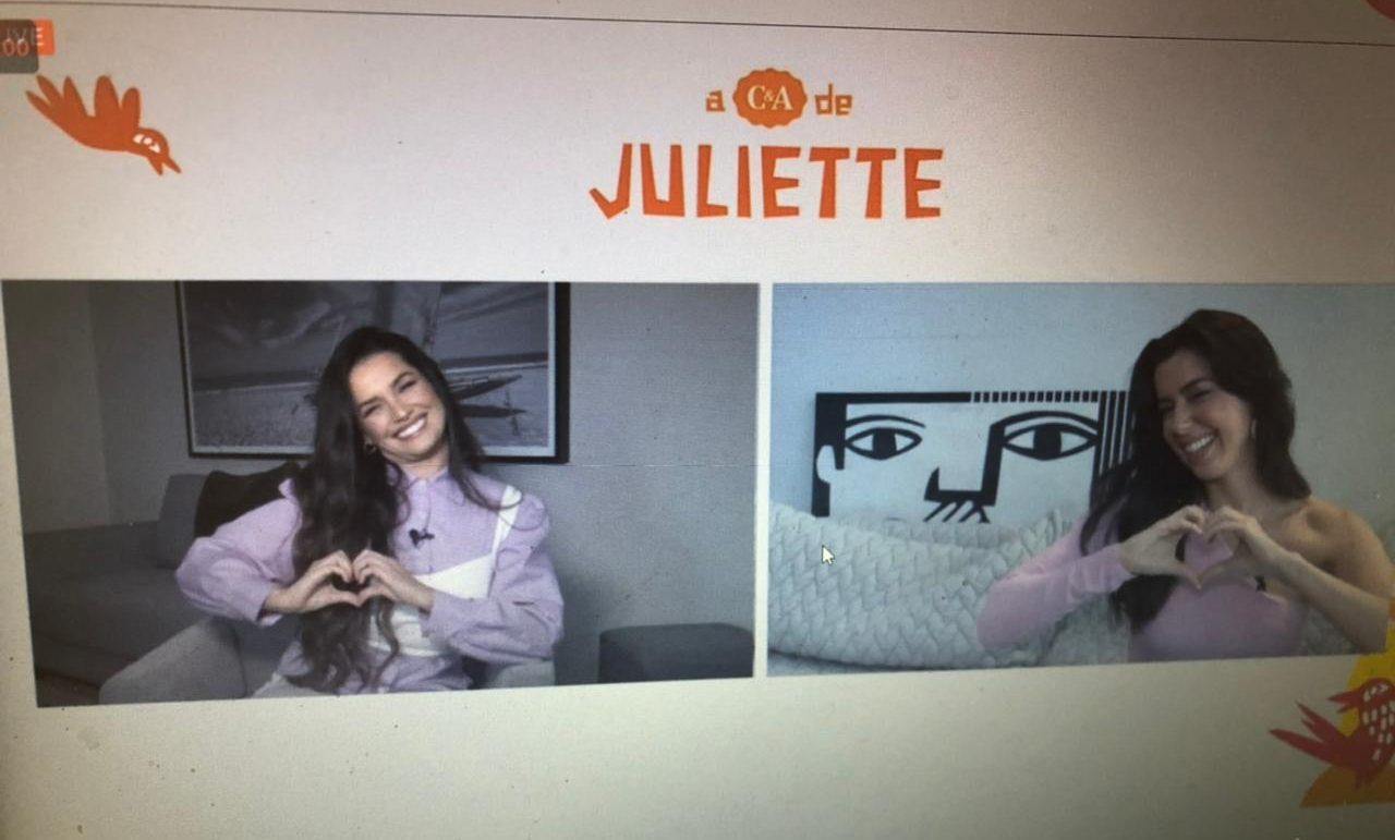 Juliette e Camila Coutinho durante a coletiva (Foto: Reprodução)