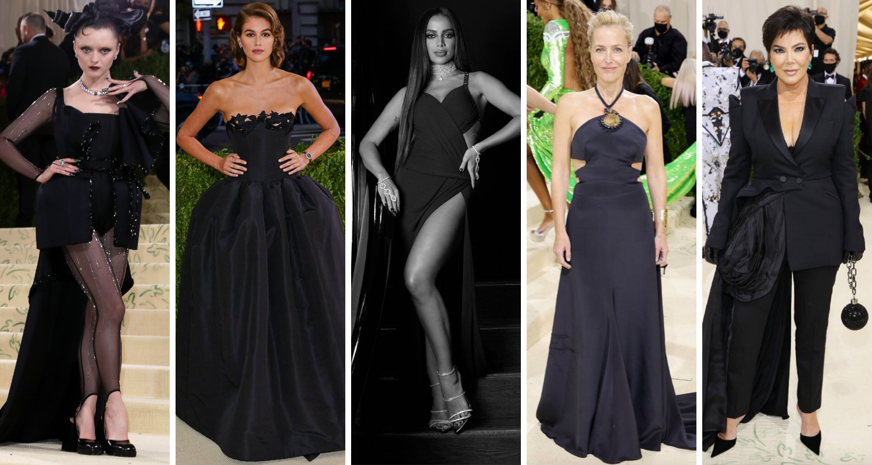 Famosas, incluindo Anitta (centro) no no Met Gala (Fotos: E! Entertainement/Divulgação)